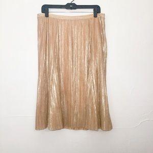 Anthropologie Maeve Metallic Rose Pleated Skirt